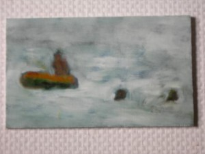 oil on wood 13x 25cms approx