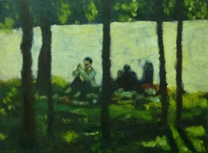 picnicking -45 x 25 cms approx