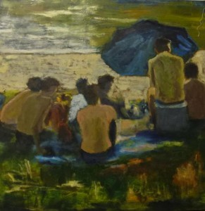 male gathering at the beach -50 x 50 cms