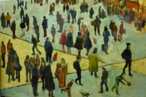 concourse, railway station -120 x 80 cms